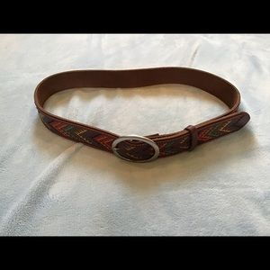 Lucky Brand leather belt, brown, EUC, colorful!